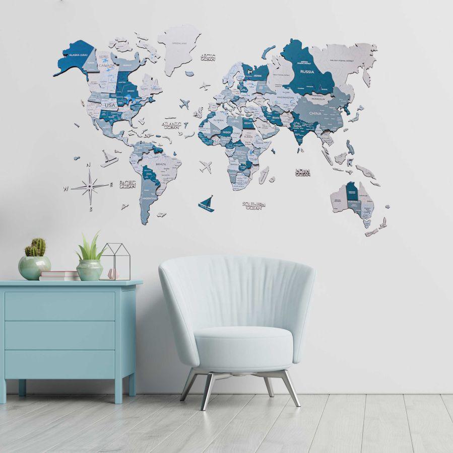 Leseni zemljevid sveta 3D Aqua