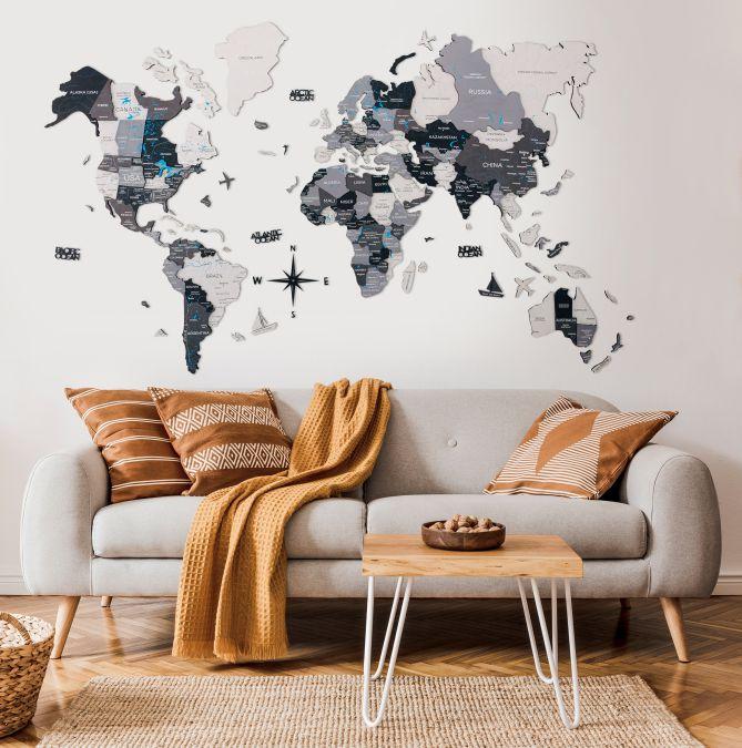 Leseni zemljevid sveta 3D Nordic