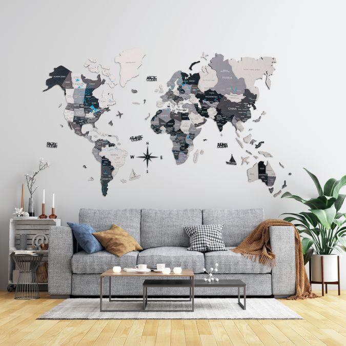 Lesen zemljevid sveta 3D_Grey3