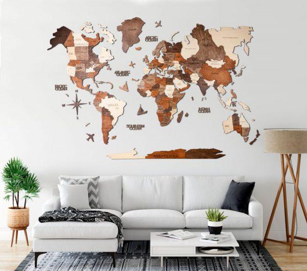 Lesen zemljevid sveta 3D Multicolour glavna slika