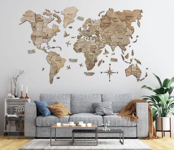 Leseni zemljevid sveta 3D Terra