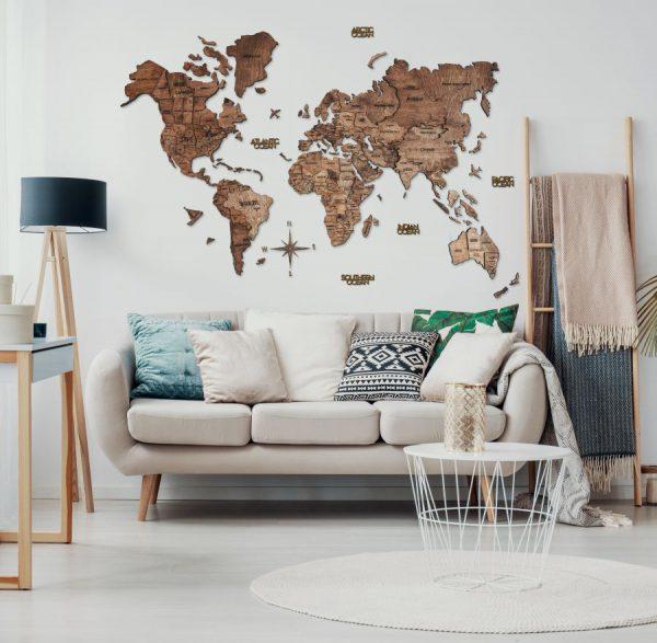Leseni zemljevid sveta 3D Walnut