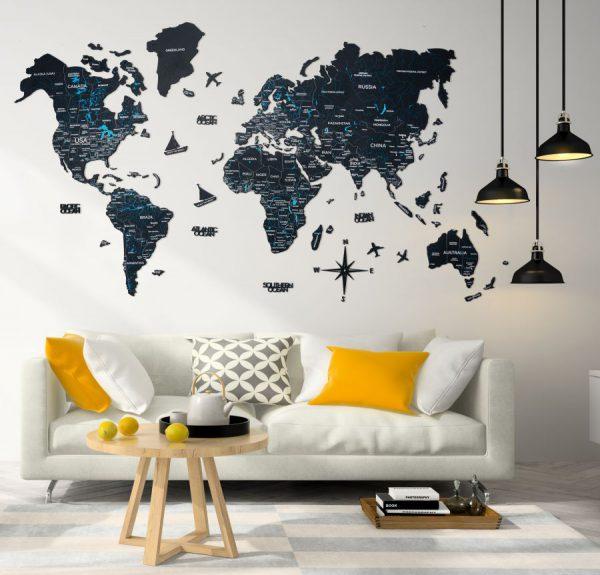 Leseni zemljevid sveta 2D Black