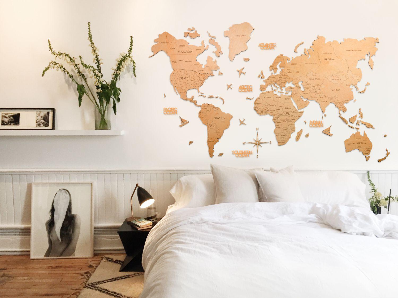 Leseni zemljevid sveta 2D Light