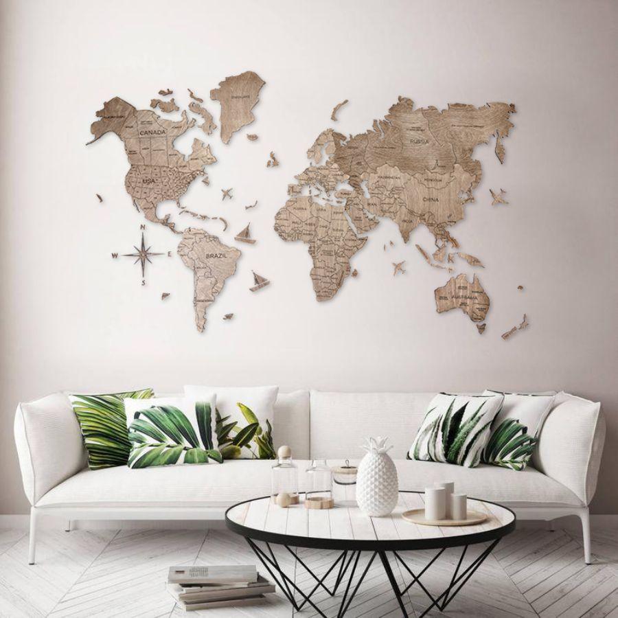 Leseni zemljevid sveta 2D Terra