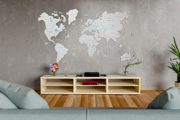 Leseni zemljevid sveta 2D White