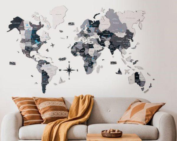 Lesen zemljevid sveta 3D_Grey11a